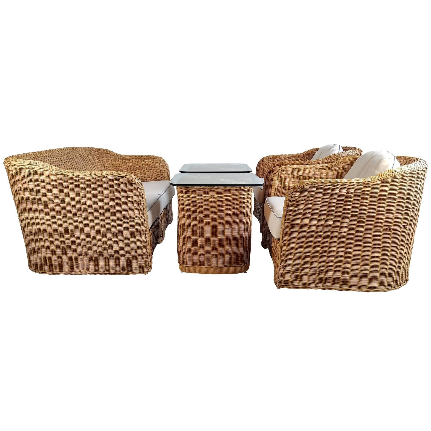 Modernist six piece wicker and bamboo suite by ficks reed for Wicker reed