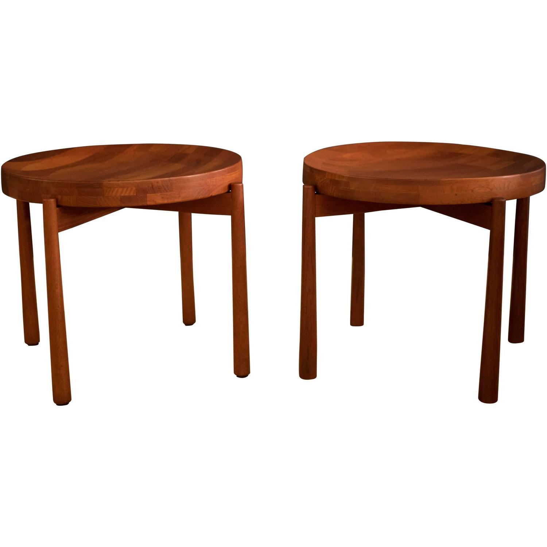 Vintage Pair Of Staved Teak Dux End Tables For Sale At 1stdibs