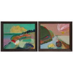 "Modernist Abstract Paintings, ""Lake Walk"" Fred Gros, Angola, New York"