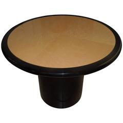 Custom-Made 1980s Chic Bird's-Eye Maple and Black Lacquer Game Table
