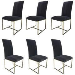 Six Brass and Mohair Dining Chairs by Milo Baughman for Thayer Coggin