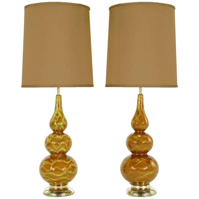 Pair of Caramel Glazed Ceramic Triple Gourd Form Table Lamps