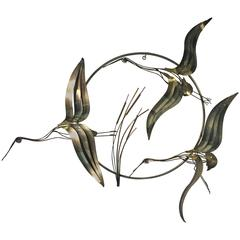 Beautiful Bird Wall Sculpture by Curtis Jere, 1983