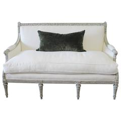 Painted Louis XVI Style French Country Sofa Settee in White Linen