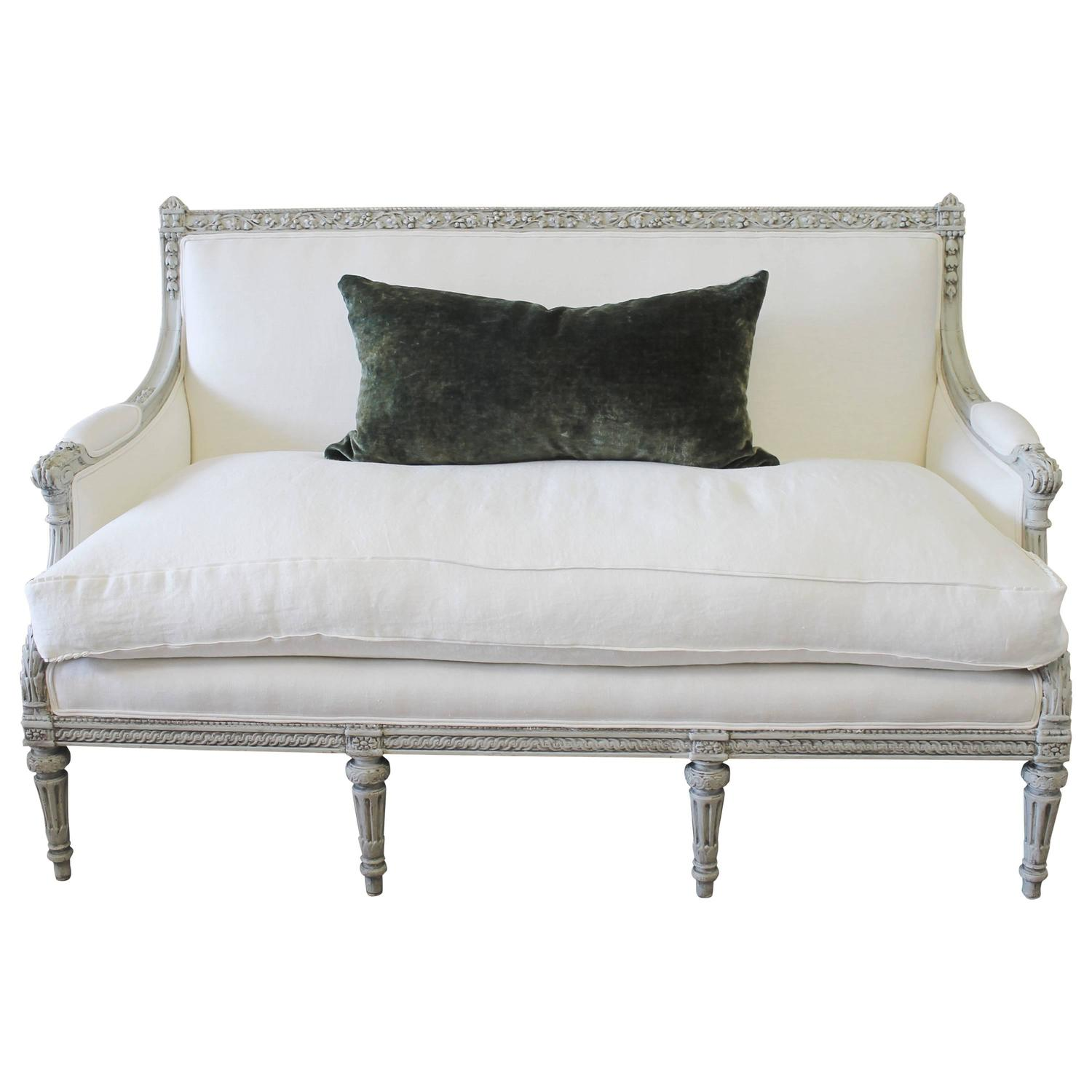 Painted Louis Xvi Style French Country Sofa Settee In White Linen At 1stdibs