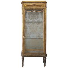 19th Century Giltwood French Vitrine Curio Cabinet with Swags