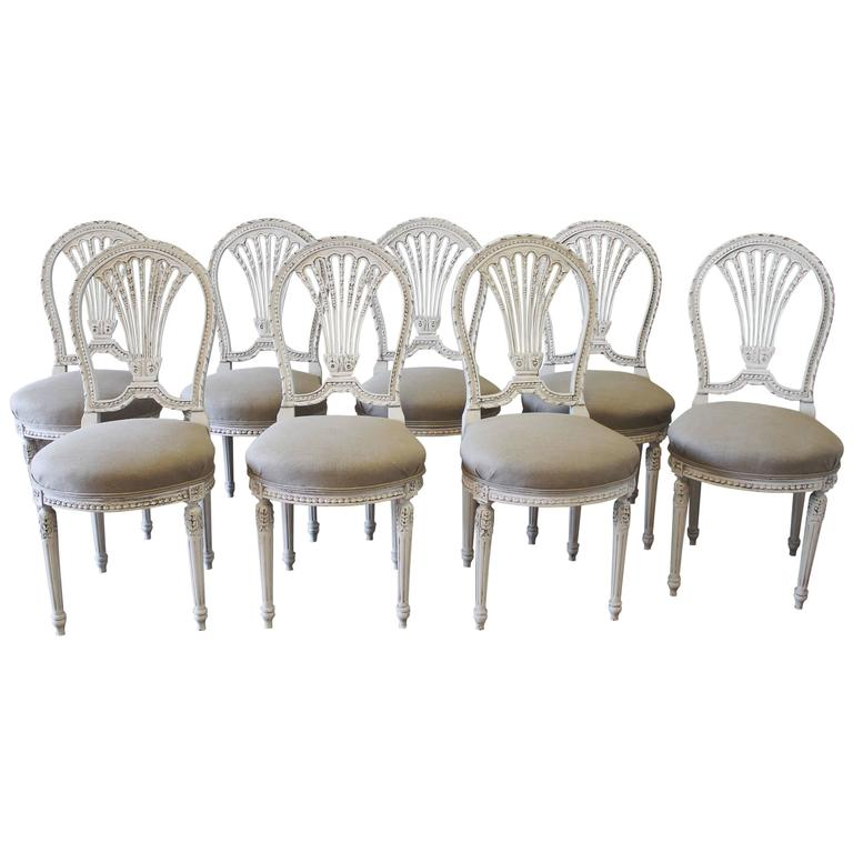 eight antique french carved louis xvi style painted dining room chairs
