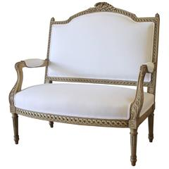 19th Century Antique French Painted Settee in Organic White Linen
