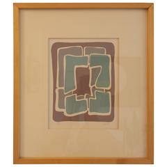 Vintage Modern Art Abstract Print Signed Clay