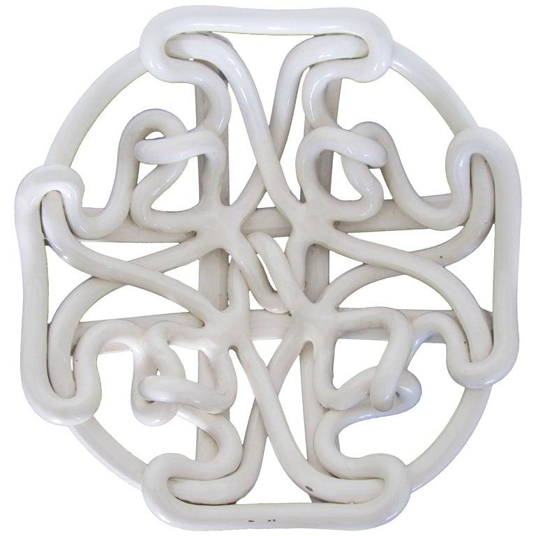 White Woven Pottery Ceramic Centerpiece Bowl For Sale