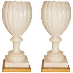 Pair of Italian Alabaster Urn Lamps / Uplights