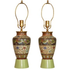 Rare Pair of Cloisonné Vases Mounted as Lamps