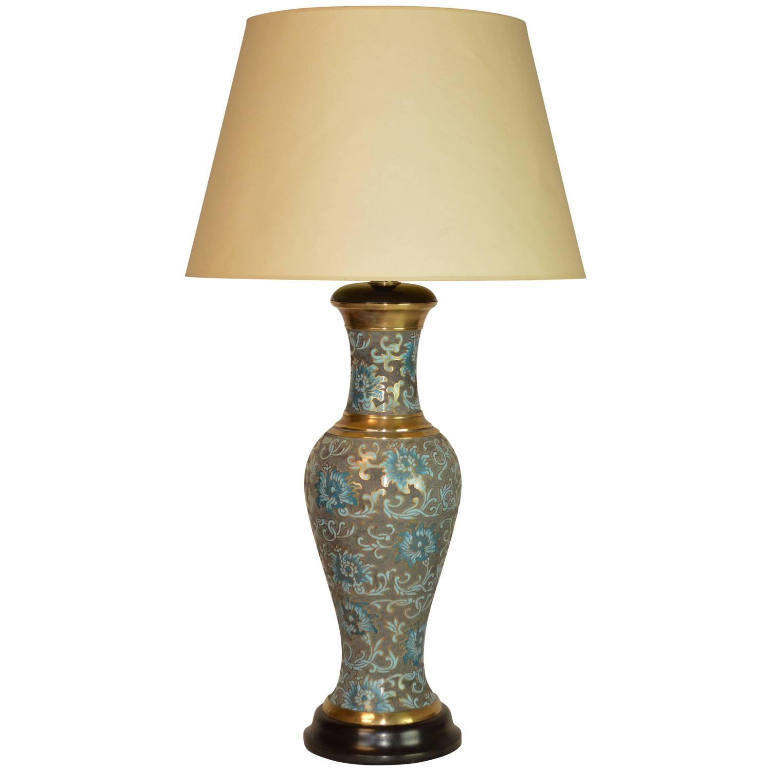 mid century modern cloisonn lamp at 1stdibs. Black Bedroom Furniture Sets. Home Design Ideas