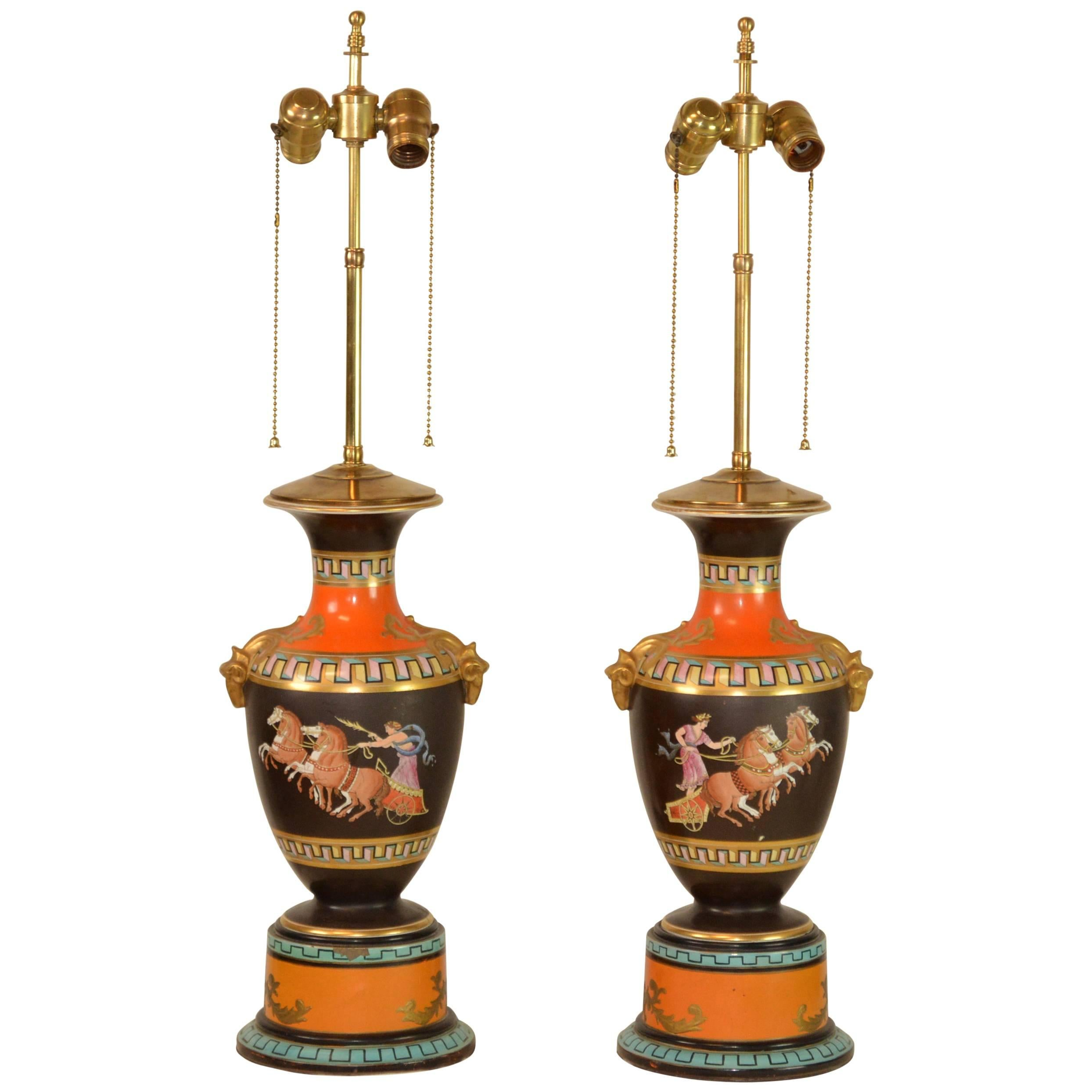 Pair of Greek Revival French Urns Mounted as Lamps