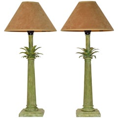 Pair of Green Column or Palm Leaf Lamps