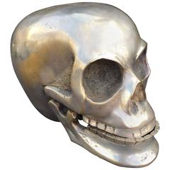 Nickel over Brass Skull Sculpture with Hinged Mandible