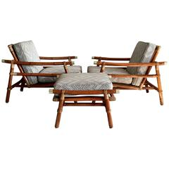 Set of Rattan Lounge Chairs and Ottoman by Wisner for Ficks Reed