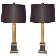 Pair of Neoclassical Gold and Black Column Lamps