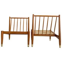 Pair of Spindle Back Swedish Slipper Chairs