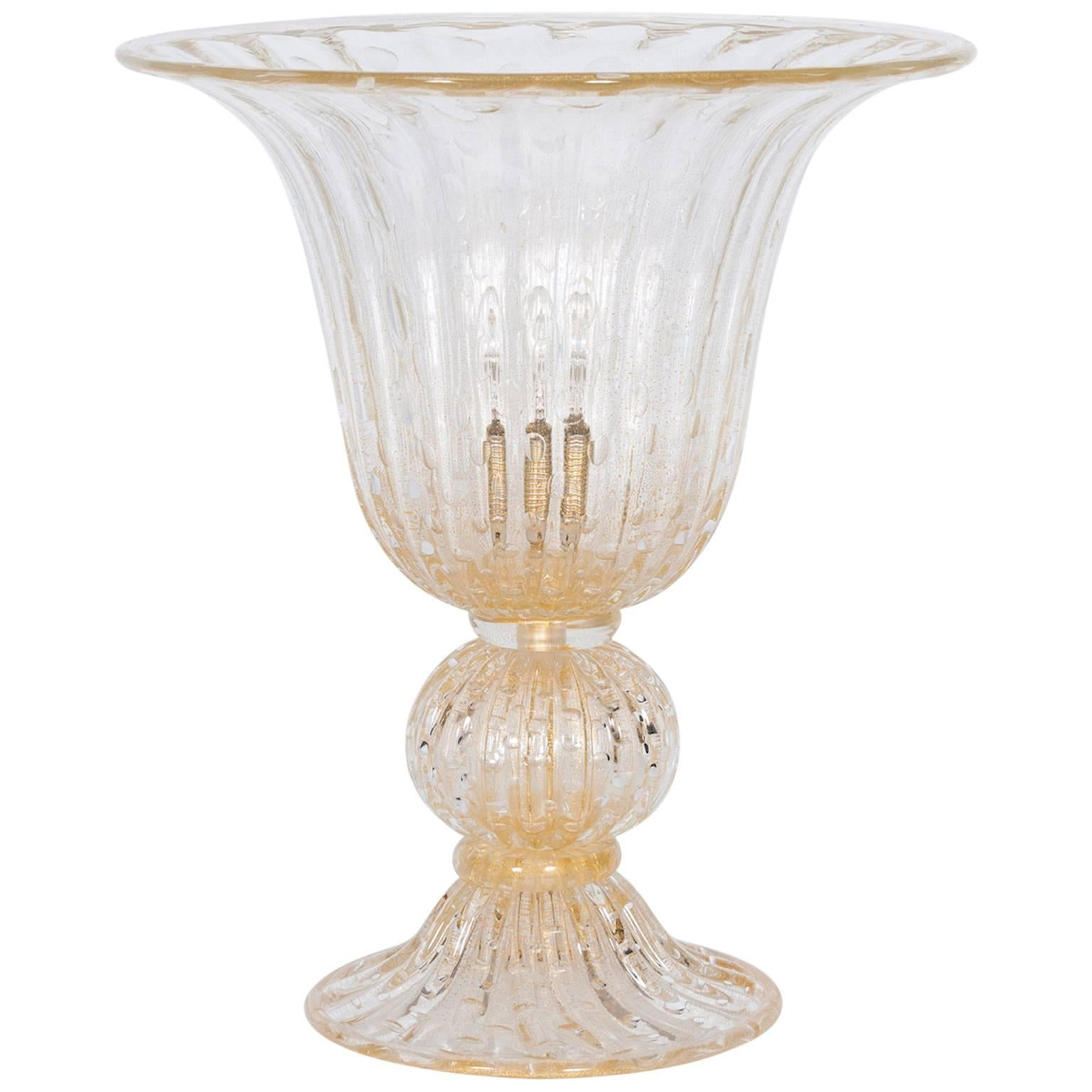 Italian Murano Glass Table Lamp in Style of Barovier & Toso Contemporary