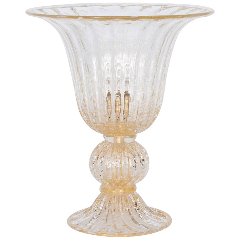 Italian Murano Glass Table Lamp in Style of Barovier & Toso Contemporary For Sale