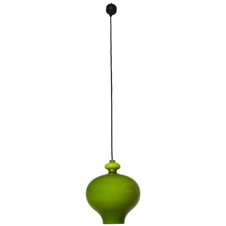 Green Pendant Lamp of Handblown Glass by Holmegaard for Staff, Germany, 1960s