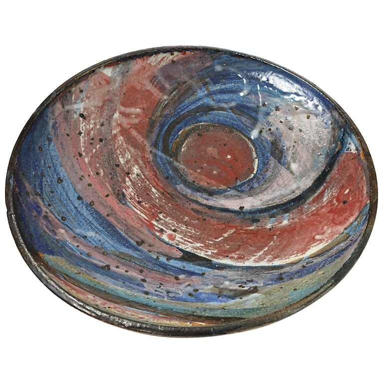 Important Ceramic Plate by Alain Gaudebert, circa 1980-1990 For Sale