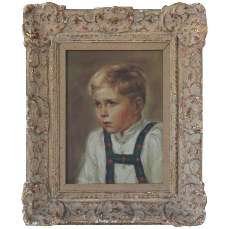 20th Century Oil on Canvas Portrait of a Child