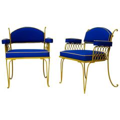 Pair of Wrought Iron Art Deco Chairs by René Prou, France, 1940s