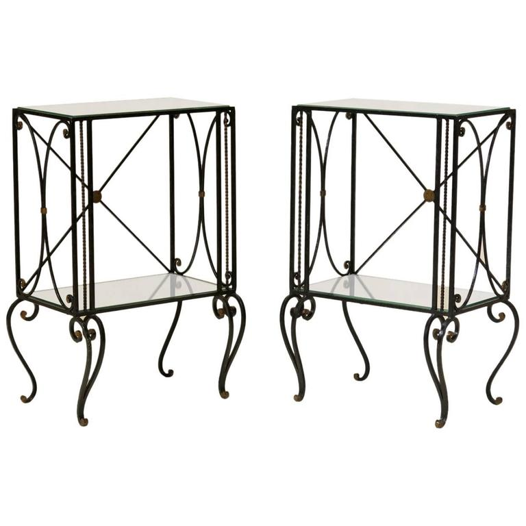 Pair of Art Deco Iron and Mirror Nightstands, France, circa 1940s