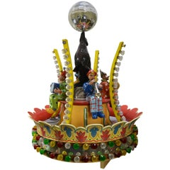 Wooden Center Carousel Ride with Clowns, Seal and Disco Ball for Hennecke, 1950s
