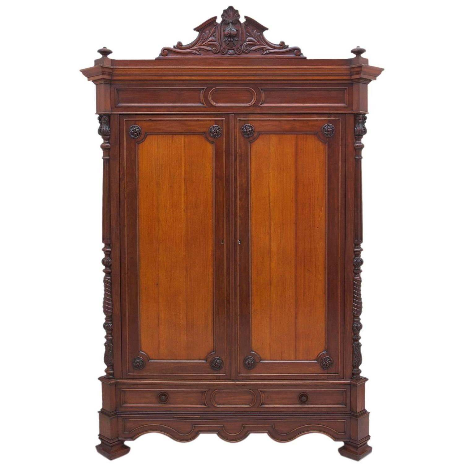 large antique french napoleon iii armoire in mahogany. Black Bedroom Furniture Sets. Home Design Ideas