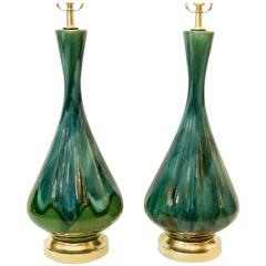 Pair of Blue and Green Drip Glaze Lamps