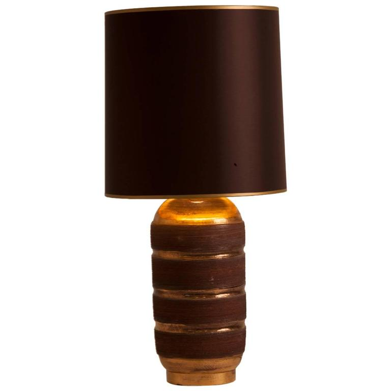 French Mid-Century Ceramic Lamp Glazed in Gold Gilt and Chocolate