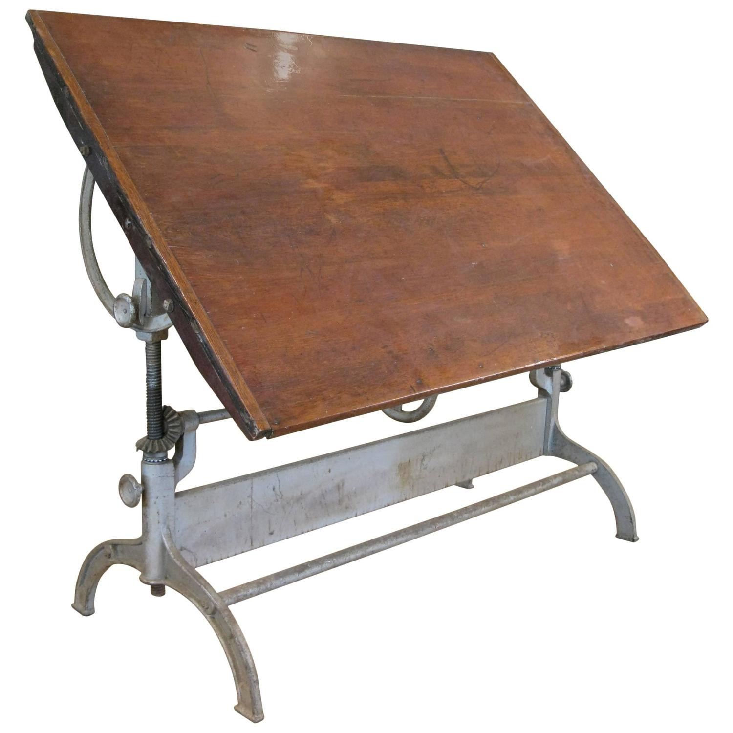antique industrial cast iron adjustable drafting table at 1stdibs. Black Bedroom Furniture Sets. Home Design Ideas