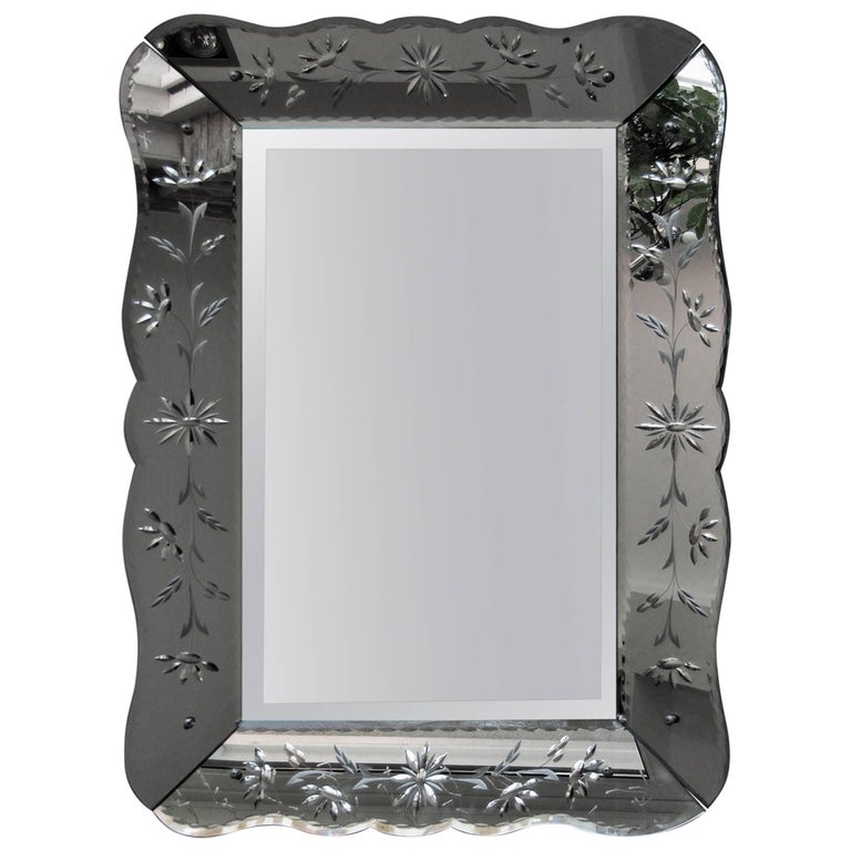 Art Deco Mirror with Ornament Engraving, France, 1940