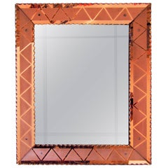 Art Deco Mirror with Etched Peach-Colored Frame, Italy, 1940