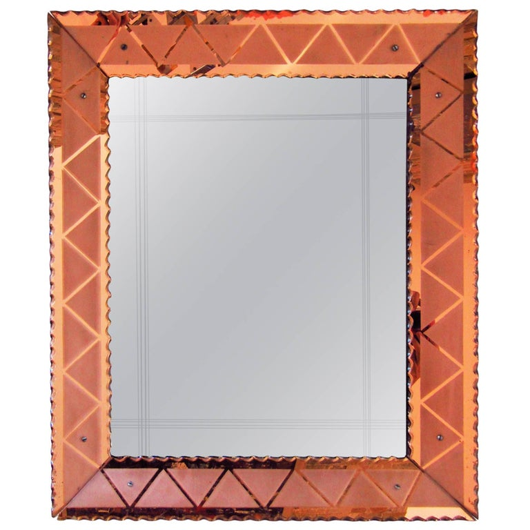 Art Deco Mirror with Peach Color Eglomise, Italy, 1940 For Sale