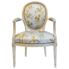 French Balloon Back Chair x Voutsa Octopussi on Powder Blue