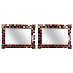 Pair of Mirrors with Surrounding Colored Glass