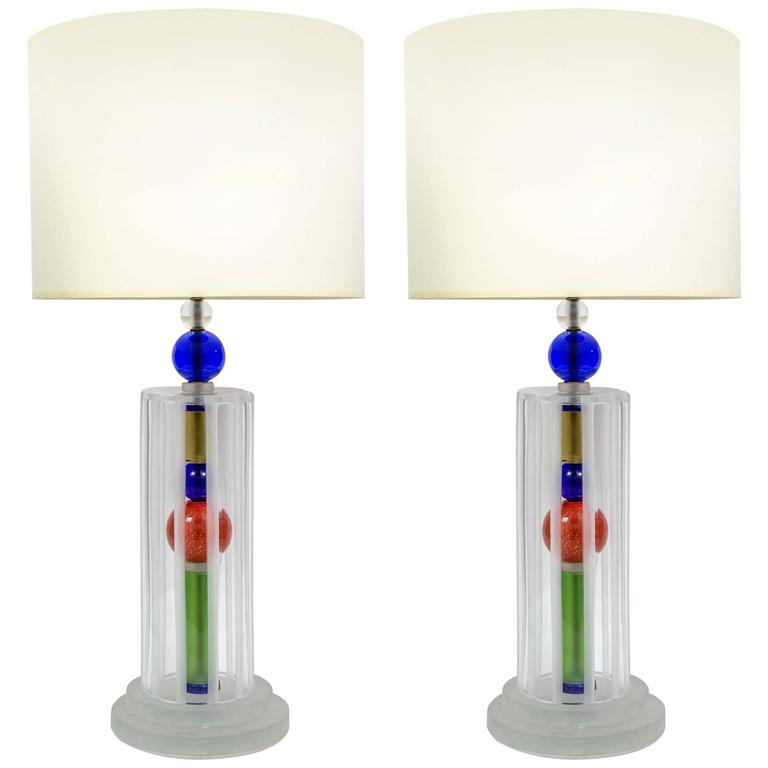 Joyful Pair of Multicolor Murano Glass Lamps