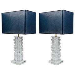 Pair of Cut Edges Murano Glass Squares Lamps