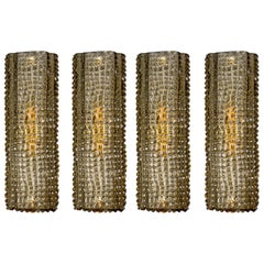 Set of Four Brown Embossed Murano Glass Wall Sconces