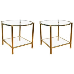 Pair of Two-Tier Pedestals in Brass at cost price