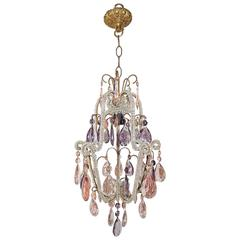 Beaded Pink and Purple Crystal Prisms Chandelier