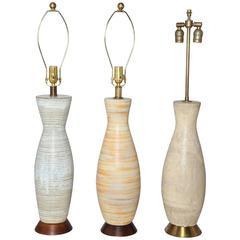 Lee Rosen for Design Technics Trio of Neutral Ceramic Table Lamps, 1950s