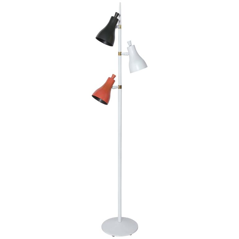 Gerald Thurston Tri-Color Floor Lamp with Black, White and Red Shades, 1950s