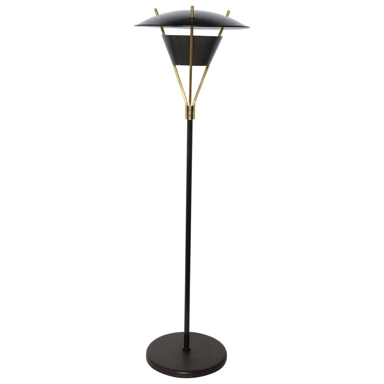 Bishop task floor lamp with brushed brass blackened steel shade tall thomas moser black enamel and brass floor lamp with black shade 1950s mozeypictures Gallery