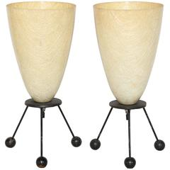 Pair of Tony Paul Style Black Wire Tripod Lamps with Warm Fiberglass Cone Shades
