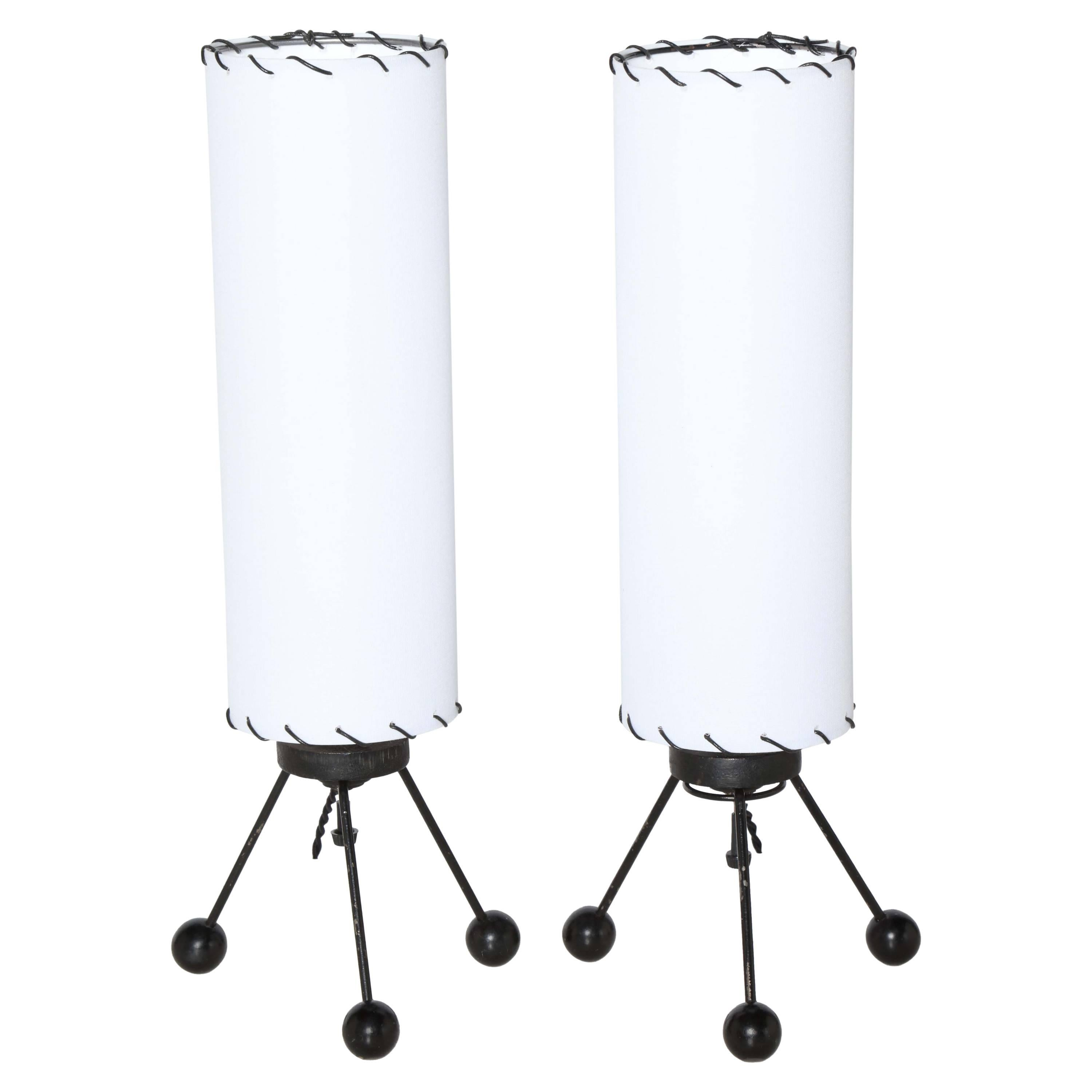 Small Pair of Verplex Co. Black Tripod Table Lamps with White Linen Shades, 1950